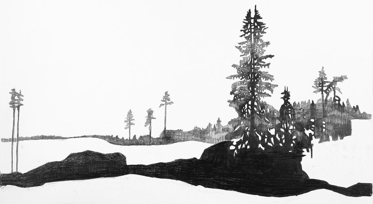 Teckning av kalhygge i Bohuslän